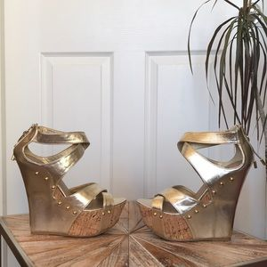 Used Just Fab Gold Faux Leather & Cork Wedges